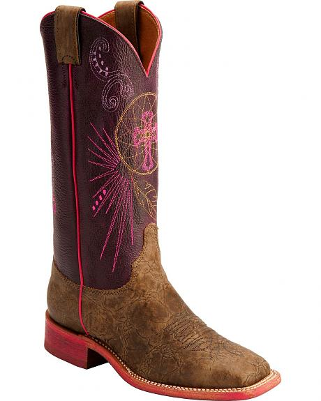Justin Bent Rail Cross Stitched Cowgirl Boots - Square Toe