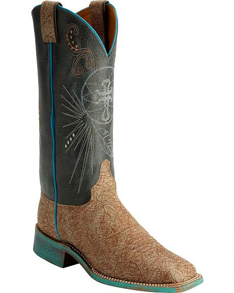 Justin Bent Rail Cross Stitched Sky Blue Cowgirl Boots - Square Toe