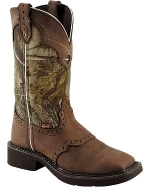Justin Gypsy Real Tree Camo Cowgirl Boots - Square Toe