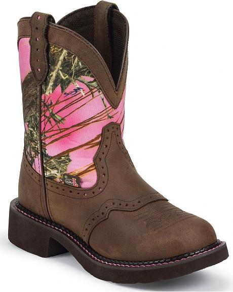 Justin Gypsy Pink Realtree Camo Cowgirl Boots - Round Toe