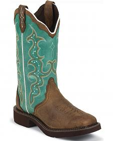 Justin Gypsy Turquoise Cowgirl Boots - Square Toe