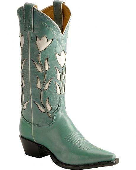 Justin Vintage Turquoise Tulip Inlay Cowgirl Boots - Snip Toe