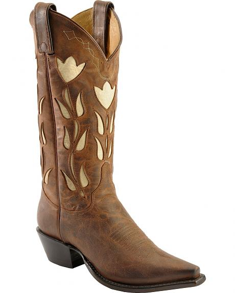 Justin Vintage Archives Chocolate Tulip Inlay Cowgirl Boots - Snip Toe