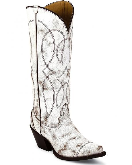Tony Lama 100% Vaquero Antique White Geneva Cowgirl Boots - Snip Toe