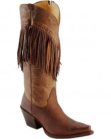 Tony Lama Vaquero with Fringe Mosto Tucson Cowgirl Boots - Snip Toe