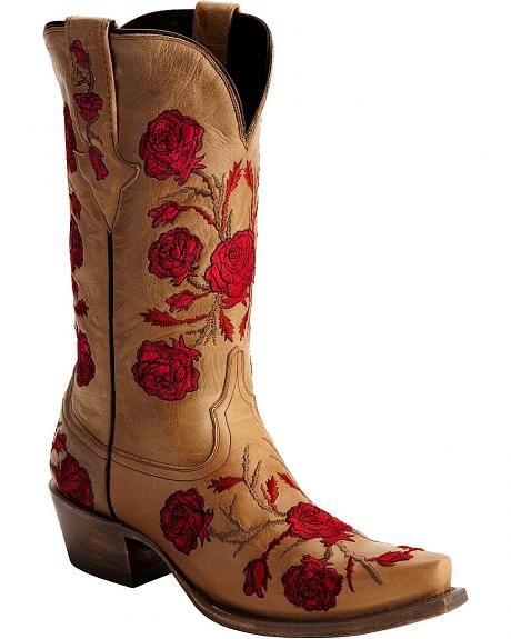 Lucchese Roses & Thorns Embroidered Cowgirl Boots - Snip Toe