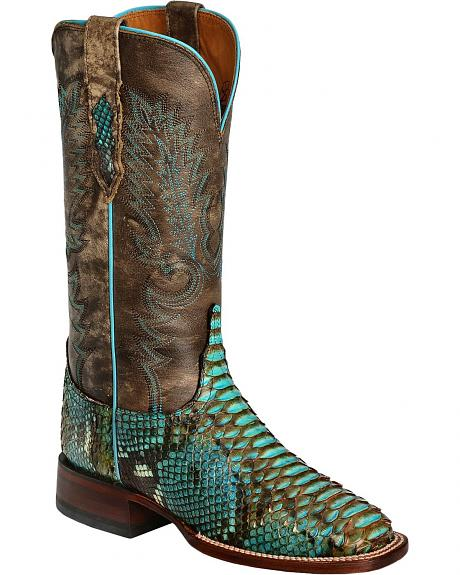 Lucchese Handcrafted 1883 Backcut Python Horseman Cowgirl Boots - Square Toe