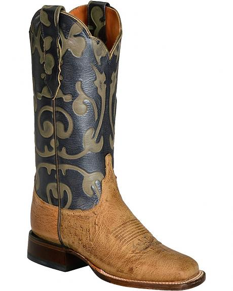 Lucchese Handcrafted 1883 Nellie Smooth Ostrich Horseman Boots - Square Toe
