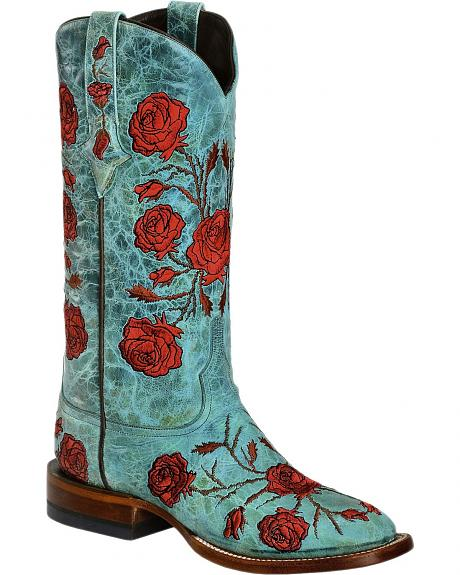 Lucchese Roses & Thorns Embroidered Cowgirl Boots - Square Toe