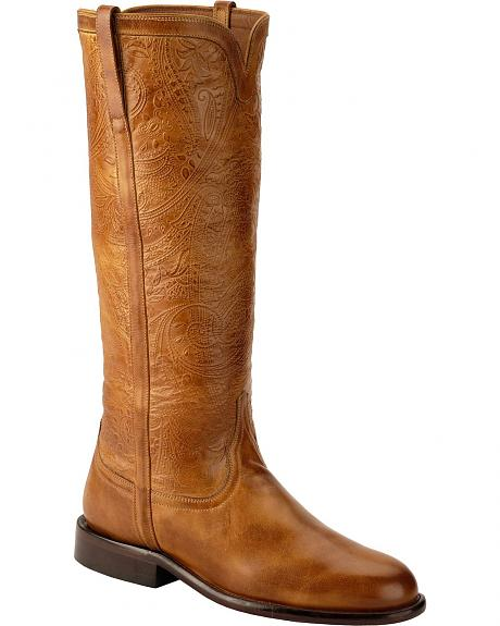 Lucchese Floral Embossed Cashmere Riding Boots - Round Toe