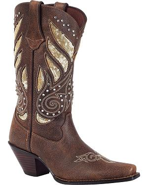 Durango Crush Sequin Inlay & Studded Cowgirl Boots - Snip Toe
