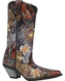 Durango Rhinestone Embroidered Cowgirl Boots - Snip Toe