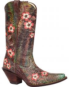 Durango Crush Floral Bouquet Embroidered Cowgirl Boots - Snip Toe