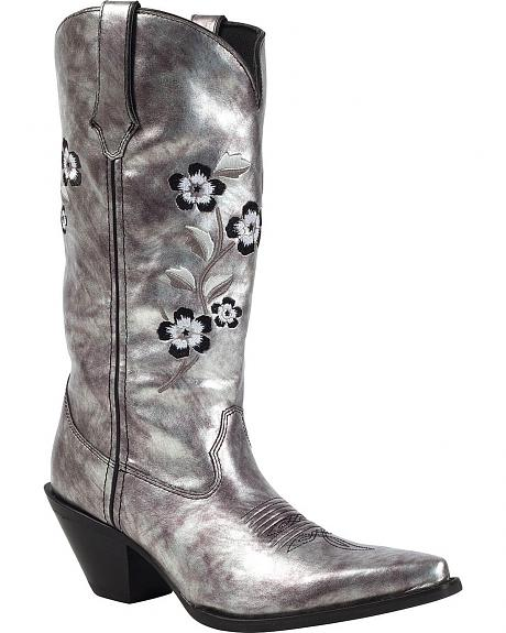 Durango Floral Embroidered Metallic Cowgirl Boots - Pointed Toe