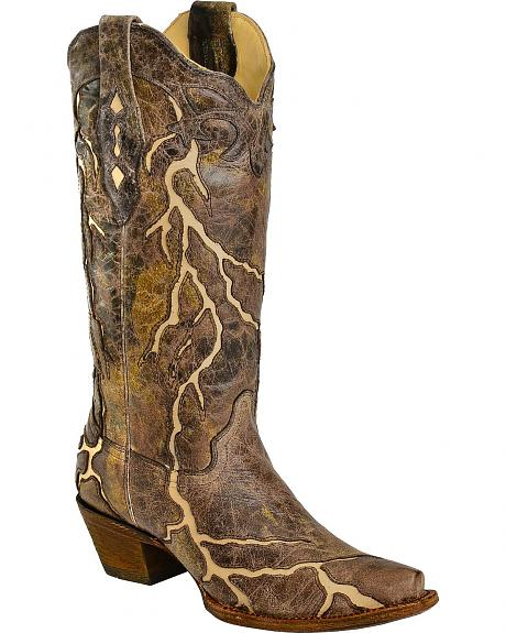 Corral Bone Lightning Inlay Cowgirl Boots - Snip Toe