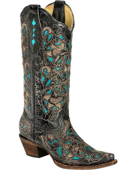 Corral Turquoise Laser Inlay Cowgirl Boots - Toe