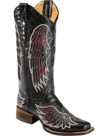 Corral Red Cross & Wing Inlay Cowgirl Boots - Square Toe