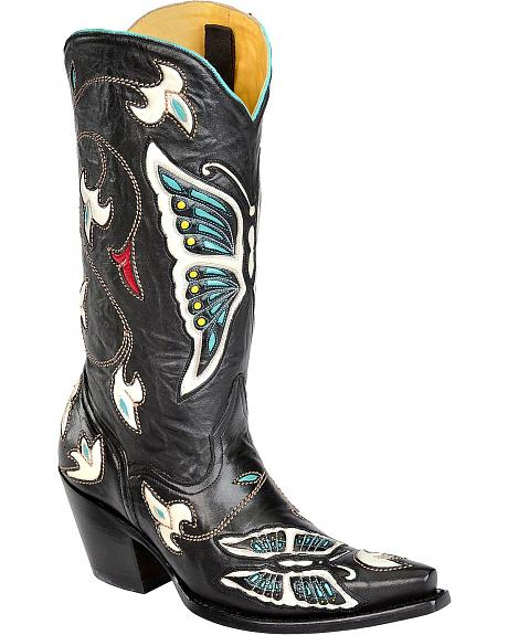 Corral Black Butterfly & Flower Inlay Cowgirl Boots - Snip Toe