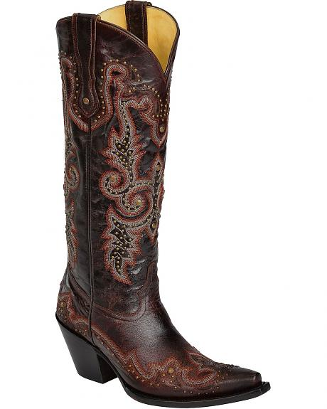 Corral Studded & Embroidered Cowgirl Boots - Snip Toe