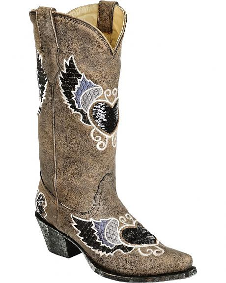 Corral Sequin Embellished Heart And Embroidered Wing Cowgirl Boots - Snip Toe