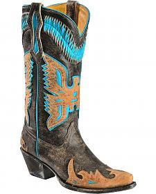 Corral Turquoise Eagle Overlay Cowgirl Boots - Snip Toe