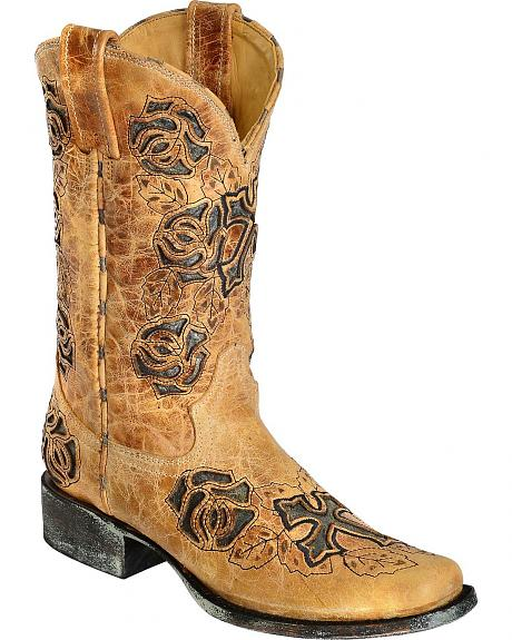 Corral Rose and Cross Inlay Cowgirl Boots - Square Toe