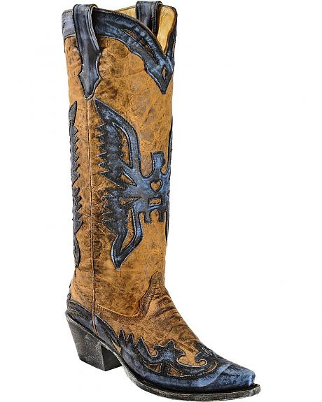 Corral Vintage Blue Eagle Overlay Tall Cowgirl Boots - Snip Toe
