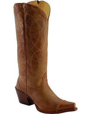 Tony Lama 100% Vaquero Latigo Tucson Zipper Cowgirl Boots - Snip Toe