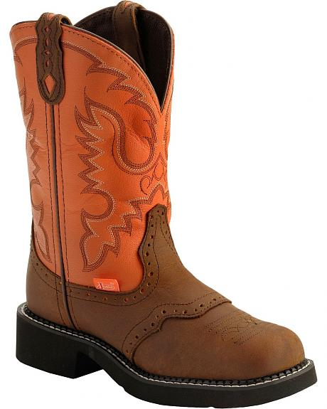 Justin Coral Stitched Gypsy Cowgirl Boots - Round Toe