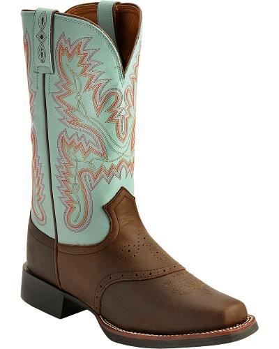 Justin AQHA Teal Stitched Cowgirl Boots Square Toe Western & Country L4853