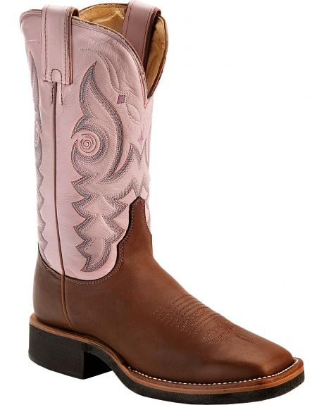 Justin AQHA Teal Stitched Cowgirl Boots - Square Toe
