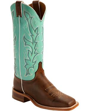 Justin Teal Bent Rail Cowgirl Boots - Square Toe
