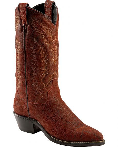 Abilene Red Distressed Fleshout Stitched Cowgirl Boots - Pointed Toe