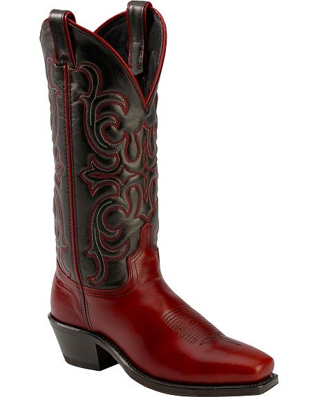 Abilene Black & Red Cowgirl Boots - Square Toe