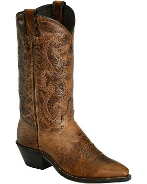 Abilene Brown Hand Tooled Inlay Cowgirl Boots - Snip Toe