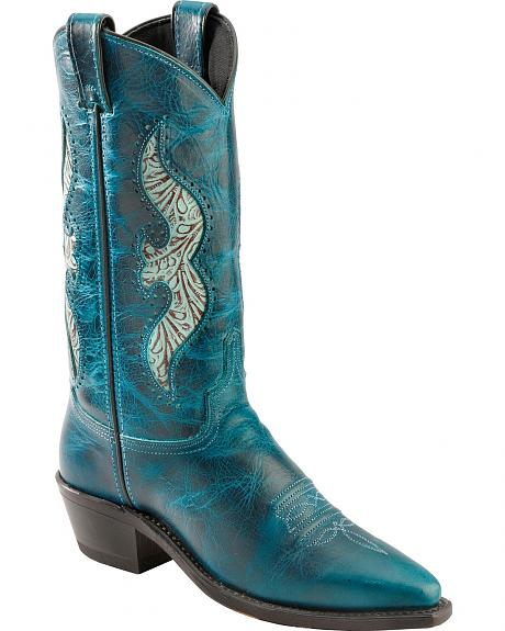 Abilene Turquoise Hand Tooled Inlay Cowgirl Boots - Pointed Toe