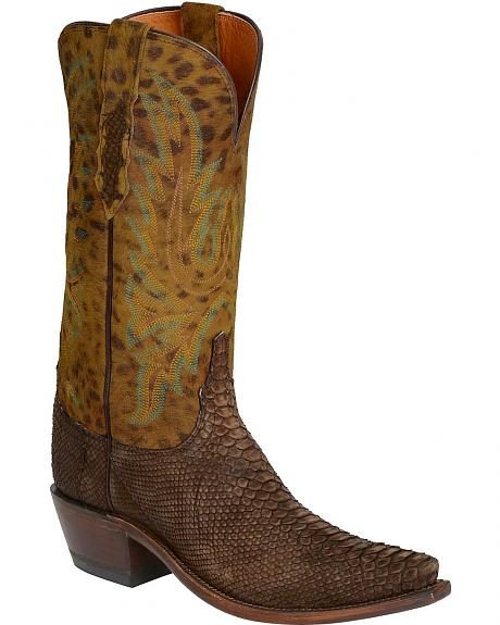 Lucchese Handcrafted 1883 Backcut Python Cowgirl Boots - Snip Toe
