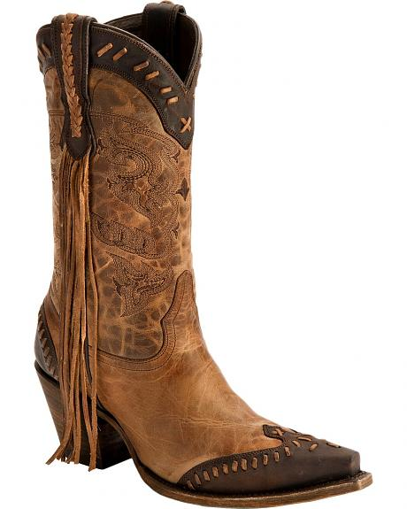 Lucchese Handcrafted 1883 Haley Fringe Cowgirl Boots - Snip Toe