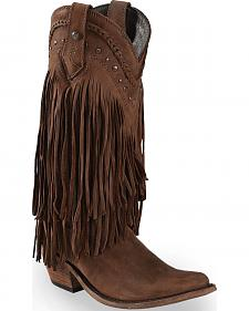 Liberty Black Vegas Fringe Boots - Pointed Toe
