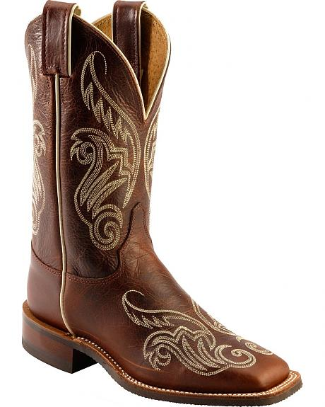 Justin Bent Rail Cognac Damiana Embroidered Cowgirl Boots - Square Toe