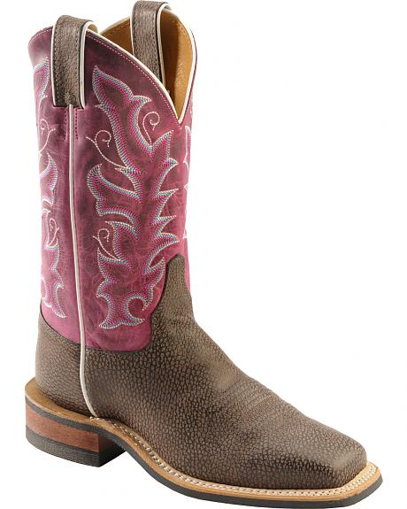 Justin Bent Rail Chocolate Bisonte Cowgirl Boots - Square Toe