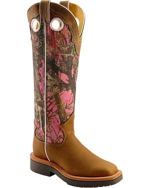 Justin Rugged Pink Camo Snake Boots - Square Toe