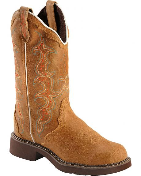 Justin Gypsy Fancy Stitched Toast Cowgirl Boots - Round Toe