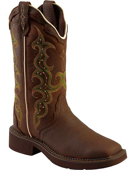 Justin Copper Kettle Cow Gypsy Cowgirl Boots - Square Toe