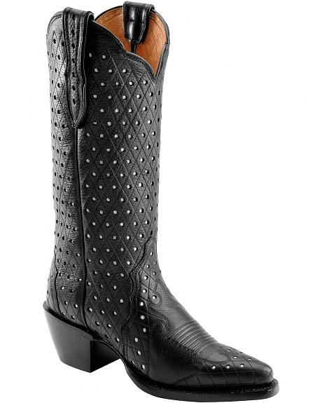 Justin Punctured Deercow Cowgirl Boots - Snip Toe
