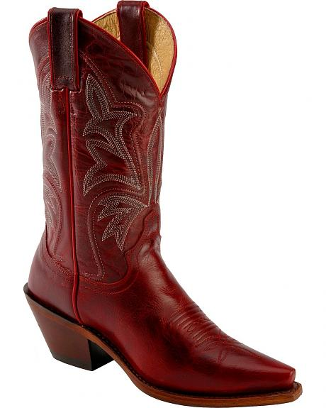 Justin Red Torino Cowgirl Boots - Snip Toe