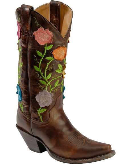 Justin Floral Applique Cowgirl Boots - Snip Toe