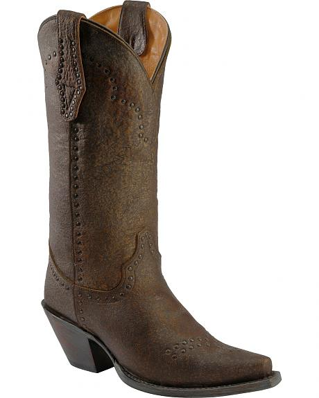 Justin Bronze Granite Studded Cowgirl Boots - Snip Toe