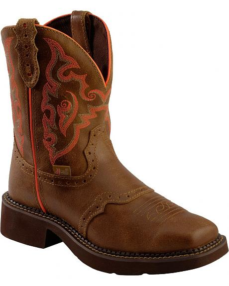 Justin Pink Stitched Gypsy Boots - Square Toe