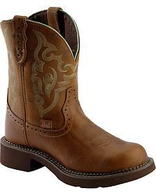 Justin Tan Jaguar Gypsy Boots - Round Toe